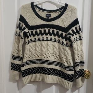 Black and White American Eagle Cable Knit Sweater